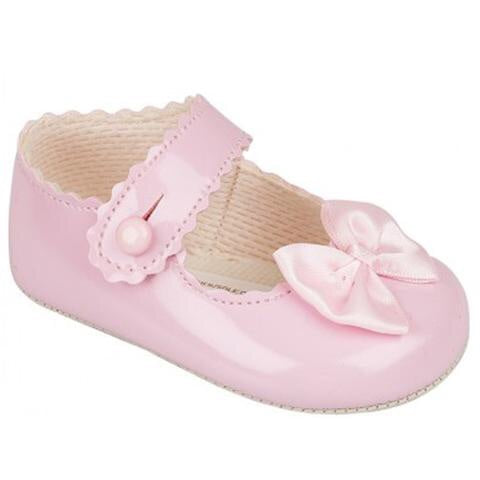 Early days - patent pram shoe B604 pink / white