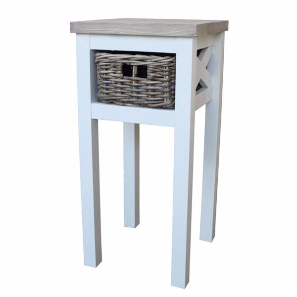 small side table with rattan basket