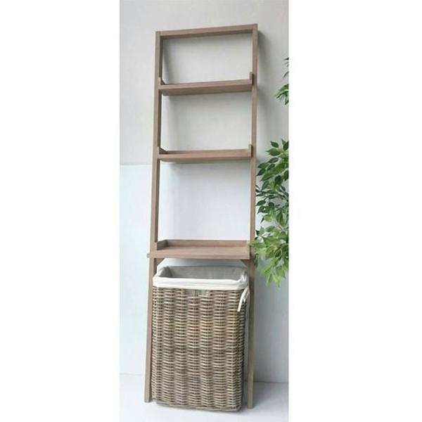 CECILIA leaning laundry shelves with rattan basket