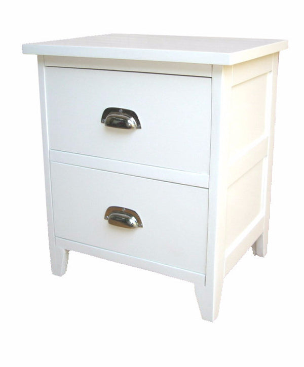 white bed side cabinet with metal handle