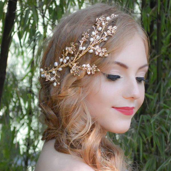 Model wearing Alice Anne Headpiece - Shop No.2