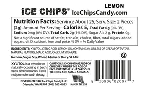 Nutrition Facts & Ingredients Lemon Ice Chips available at TheProteinStore.com