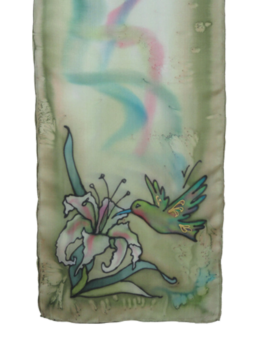 Hand-painted silk scarf blue and pink hummingbird design