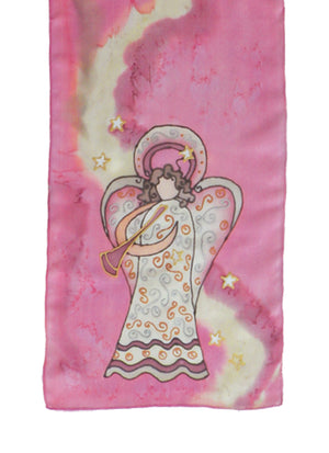 Hand-painted silk scarf pink and beige angel design