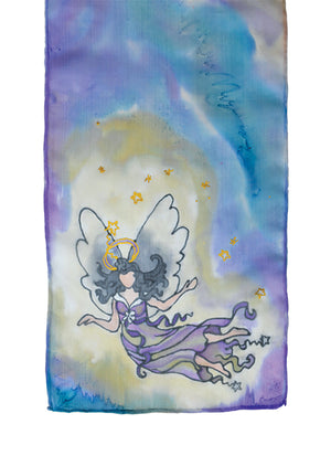 Hand-painted silk scarf purple and blue stardust angel design