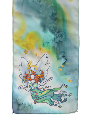 Hand-painted silk scarf green and yellow stardust angel design