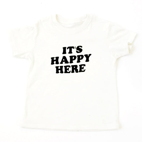 """Happy Here"" Natural Tee - Little Adi + Co."
