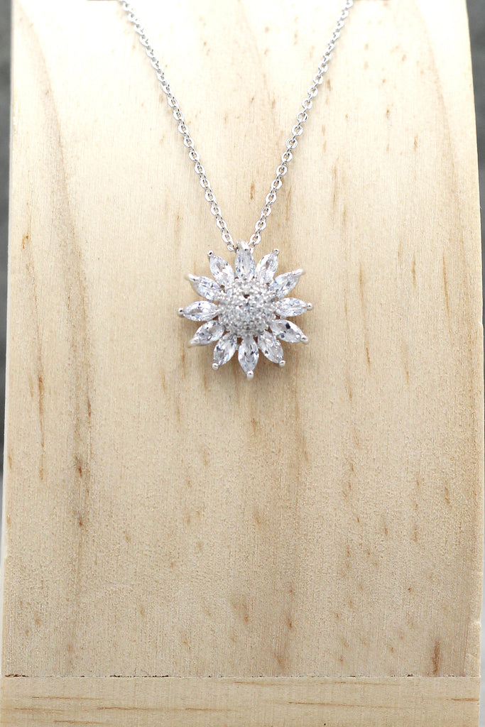 silver sun flower crystal necklace