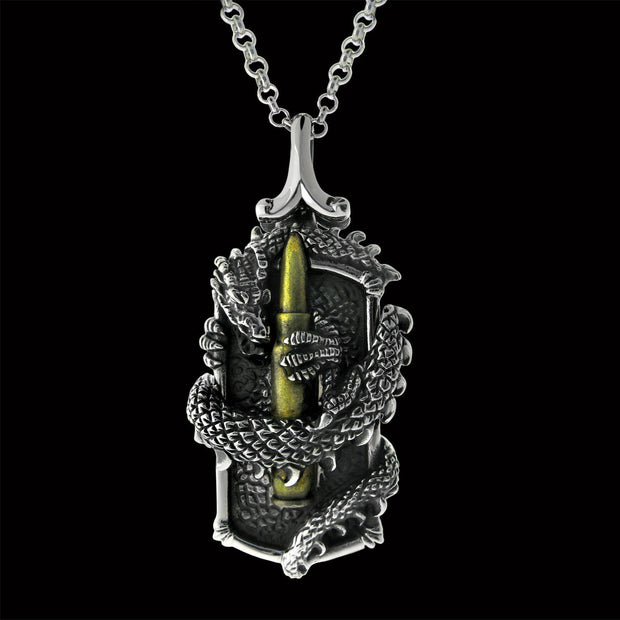 dragon pendant, dragon jewelry, dragon dog tag, miker jewelry, martial art jewelry,
