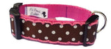 Brown & White Polka Dot Dog Collar
