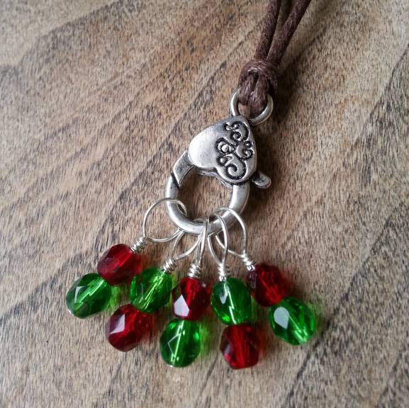"Holiday Spirit Stitch Marker Necklace, Pewter Clasp and Czech Crystal on 30"" Adjustable Cotton Cord"