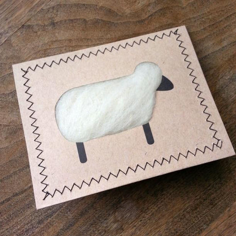 Unique Wool Sheep Notecards, White (Set of 5)