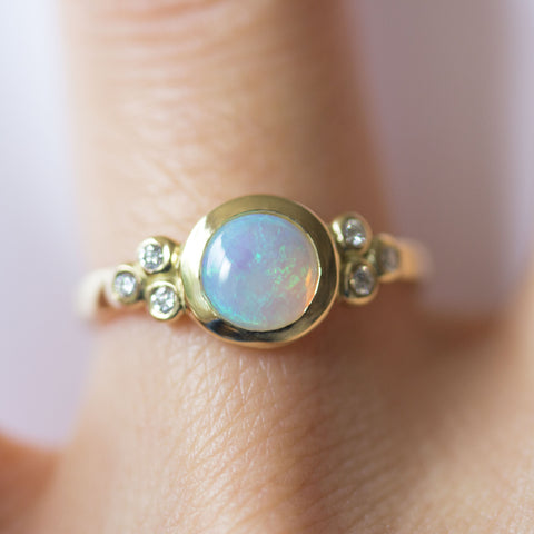 Custom Opal + Diamond Ring