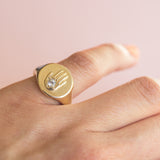 Hand Power Ring in Golden Brass