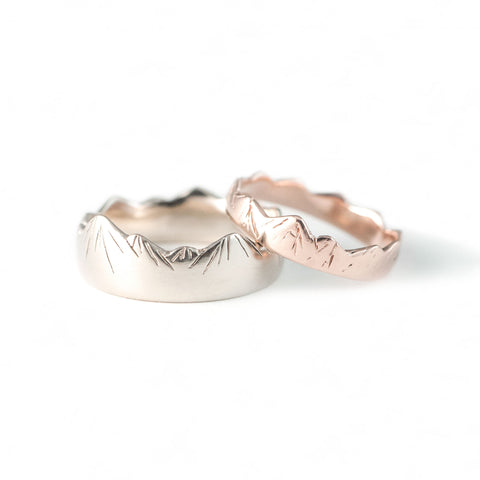 Mountain Wedding Rings in Rose + White Gold