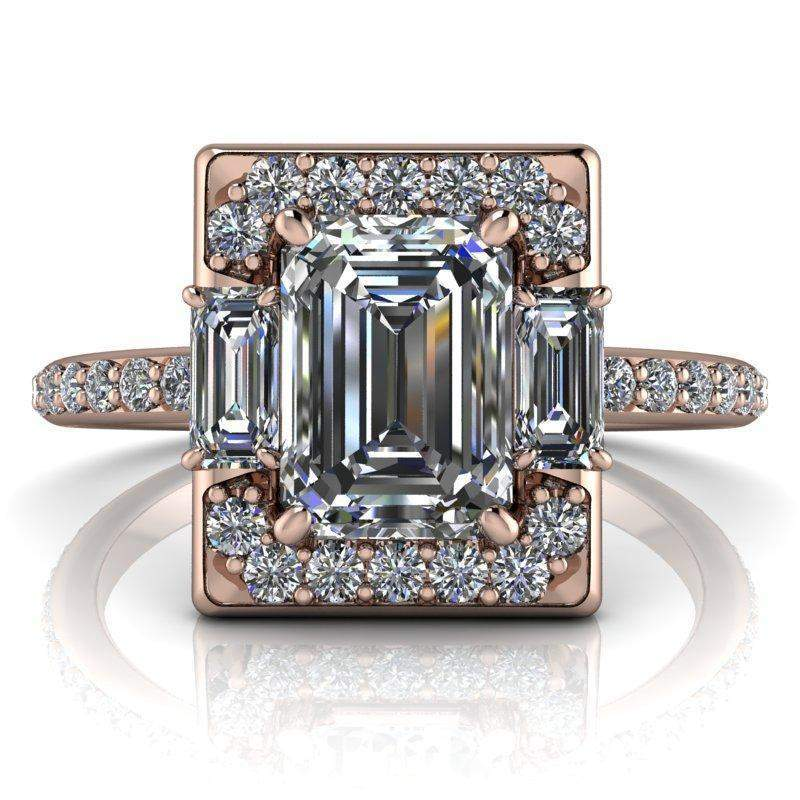 1.83 CTW Emerald Cut Colorless Moissanite Halo Engagement Ring-BVD