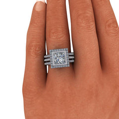 2.90 CTW Princess Cut Forever One Moissanite Halo Bridal Set, Dual Wedding Bands-BVD