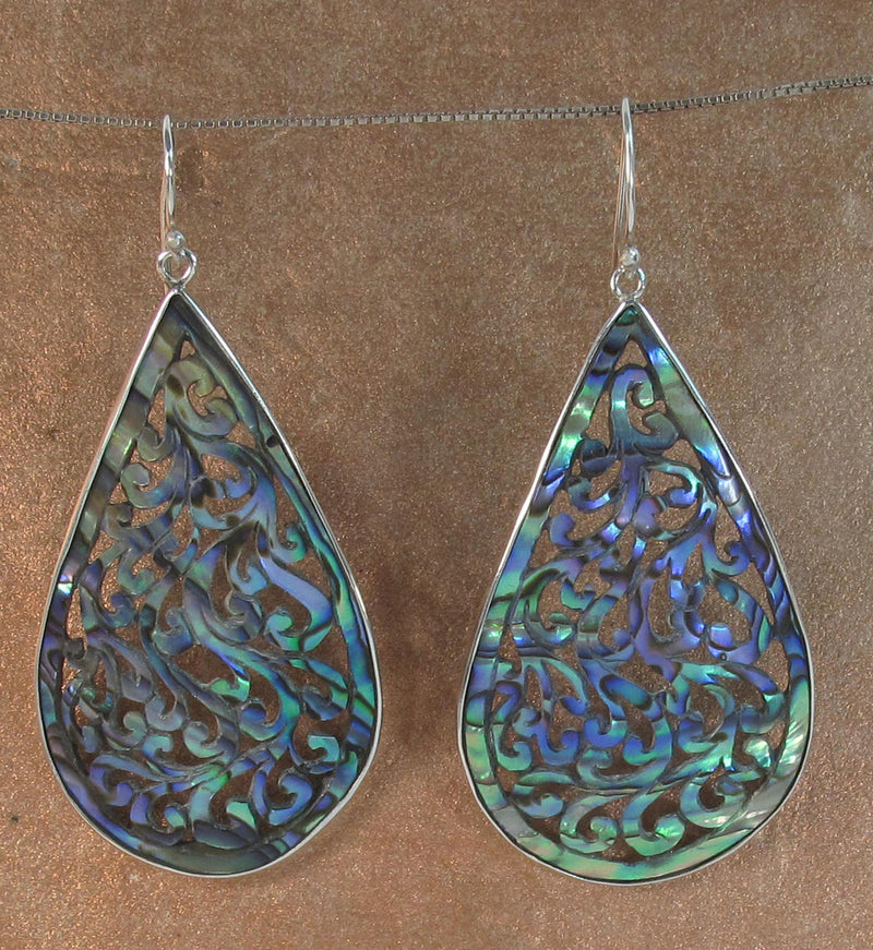 Jungle Vine Carved Paua Earrings