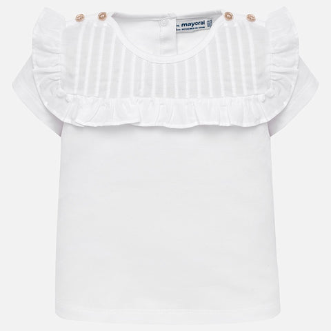 1013 Girls White Cotton T-Shirt Top with Flutter Sleeves & Buttons