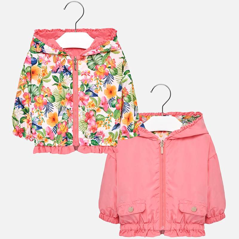 girls reversible palm leaf and tropical print windbreaker, geranium pink, mayoral 1422