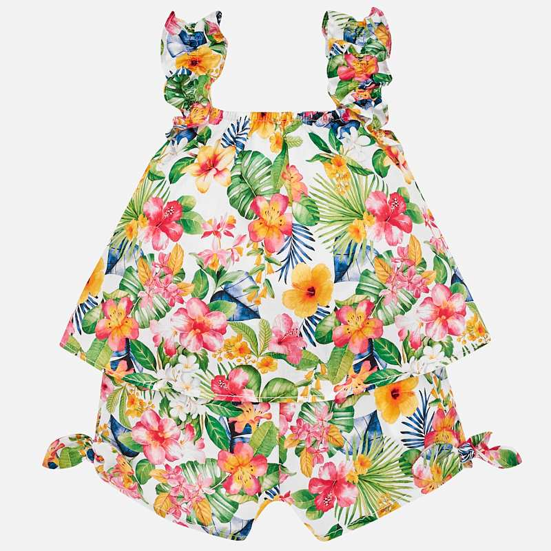 little girls tropical print one piece romper, palm leaves, geranium, mayoral 1846
