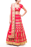 Red Aari Work Bridal Lehenga