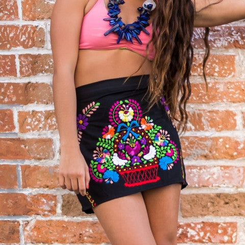 Boho Black Mini Skirt