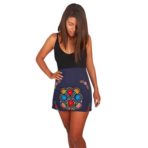 Boho Blue Bohemian Mini Skirt