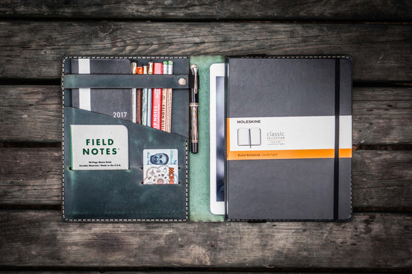 iPad Air/Pro & Extra Large Moleskine Cover - Crazy Horse Forest Green-Galen Leather
