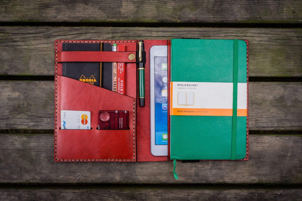 iPad Mini & Large Moleskine Cover - Red-Galen Leather