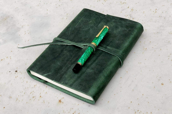 Crazy Horse Green Leather Journal