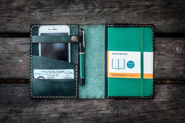 Leather Pocket Moleskine Journal Cover - Crazy Horse Forest Green-Galen Leather