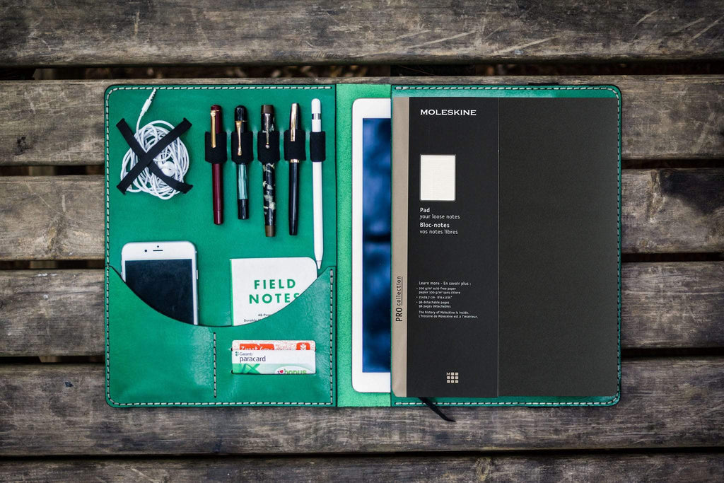 Moleskine Professional Workbook A4 Cover, Leather Compendium - Green-Galen Leather