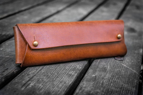 The Student Leather Pencil Case - Brown-Galen Leather