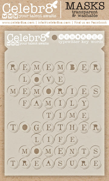 CELEBR8  MASK - Memories- Typewriter Key Words