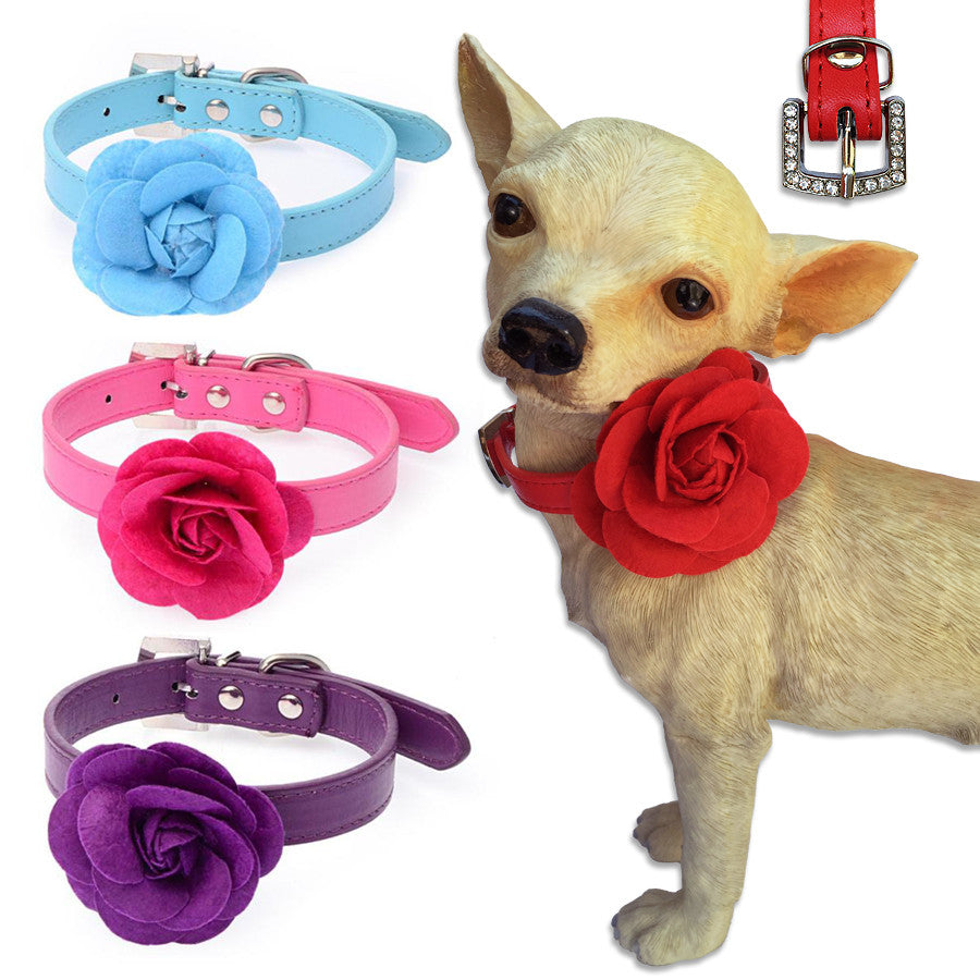 Single Rose Small Dog Collar, Small Dog Mall
