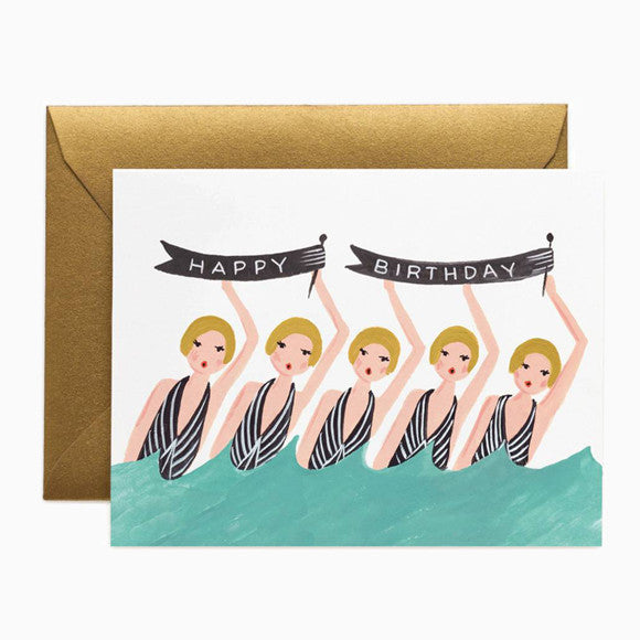 Klappkarte - Synchronized Swimmers Birthday