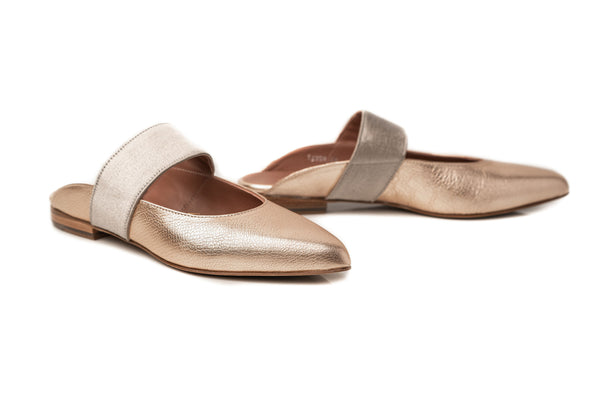 gold metallic leather elastic wide pointy toe mary jane flat mule shoes for women in extended large sizes 9, 10, 11, 12, 13, 14 handmade in Spain main view