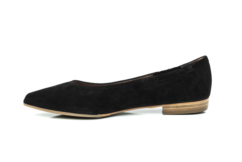black suede pointy toe comfortable sacchetto flat shoes for women in extended large sizes 9, 10, 11, 12, 13, 14 handmade in Spain inside view