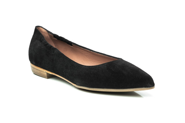 black suede pointy toe sacchetto flat shoes for women in extended large sizes 9, 10, 11, 12, 13, 14 handmade in Spain side view