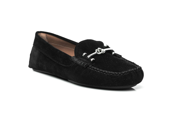 black soft suede metal chain keeper in silver driving moccasins slip on women's shoes in extended large sizes 9, 10, 11, 12, 13, 14 handmade in Spain side view