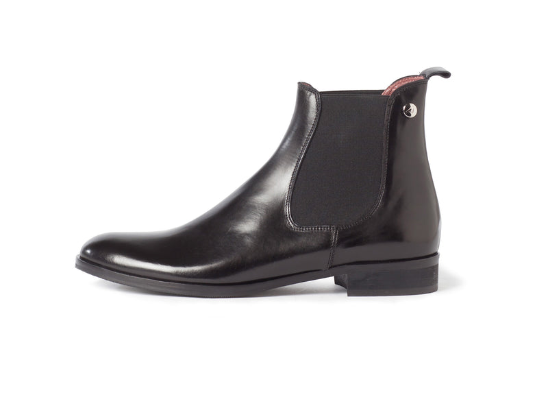black all genuine leather women's classic Italian Chelsea boots in extended large sizes 9, 10, 11, 12, 13 made in Italy outside view