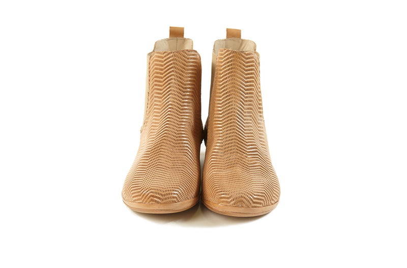 natural cuoio tan perforated leather soft ultra light sacchetto women's  slip on Chelsea ankle boots in extended large sizes 9, 10, 11, 12, 13, 14 made in Italy front view