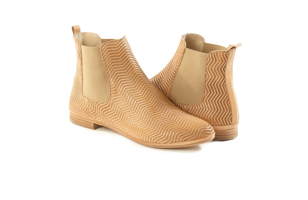 natural cuoio tan perforated leather soft sacchetto women's  slip on Chelsea ankle boots in extended large sizes 9, 10, 11, 12, 13, 14 made in Italy main view