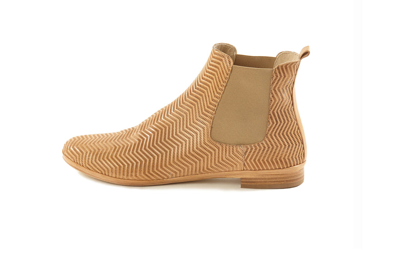 natural cuoio tan perforated leather soft sacchetto comfortable women's  slip on Chelsea ankle boots in extended large sizes 9, 10, 11, 12, 13, 14 made in Italy outside view