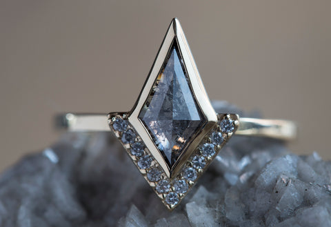 Geometric Salt + Pepper Diamond Ring with Half Halo