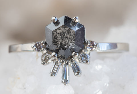 Black Diamond Hexagon Engagement Ring with Baguette Sunburst