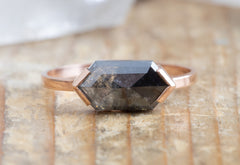 One of a Kind BiColor Hexagon Diamond Engagement Ring