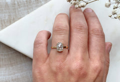 Silver-White Rose Cut Cushion Diamond Engagement Ring
