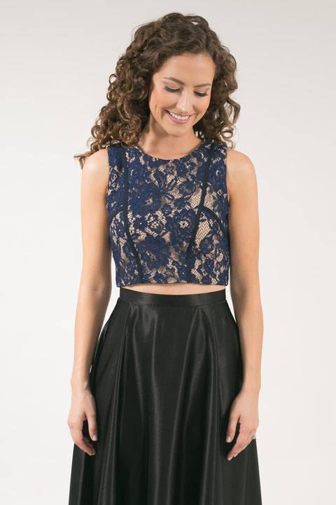 Sensational Lace Crop Top - Navy